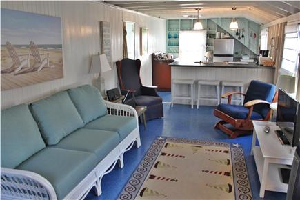 Dennis Cape Cod vacation rental - Living area showing beams and open ceiling