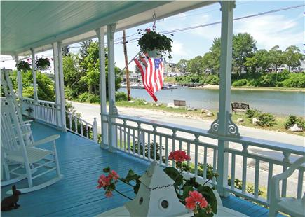 Onset on Water Street Inlet MA vacation rental - Big, Furnished Porch w/ Views to Bridge, Village, Harbor & Beach
