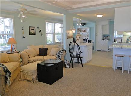 Onset on Water Street Inlet MA vacation rental - Northside (#17434) LR w/ TV, DVD, Wi-Fi opening to DR & Kitchen