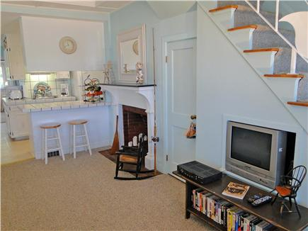 Onset on Water Street Inlet MA vacation rental - Northside Living Room & Stair opening to Kitchen & Breakfast Bar