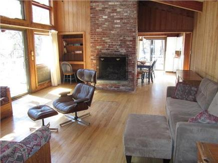 Wellfleet Cape Cod vacation rental - Great room with fireplace.