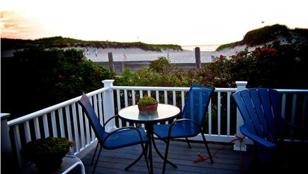 Bay side of Dennis Cape Cod vacation rental - Bistro table for two on the deck