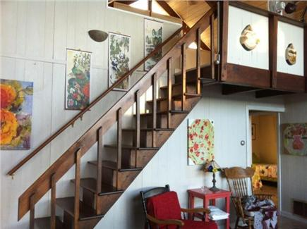 South Wellfleet Cape Cod vacation rental - Stairway to loft from living room