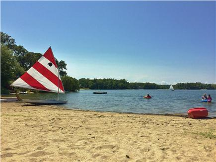 Harwich - Great Sand Lakes  Cape Cod vacation rental - Summer fun at  the neighborhood Bucks Pond beach