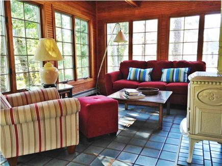 Eastham Cape Cod vacation rental - Sitting area of sunroom has vaulted ceiling and skylight
