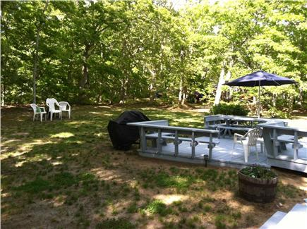 North Eastham Cape Cod vacation rental - Back deck with Hot OD shower, gas grill, fire pit & solar lights