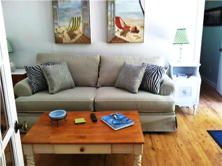 North Eastham Cape Cod vacation rental - New Queen sleeper sofa in sitting area. 2nd Flat screen +DVR