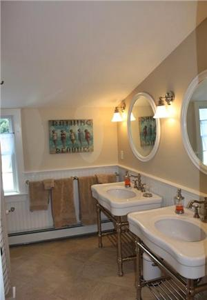 Cotuit Cotuit vacation rental - Hall (upstairs) bath, with double sinks, soaking tub and shower