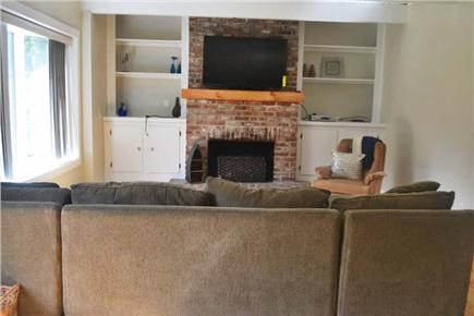 East Falmouth Cape Cod vacation rental - Living room with large couch and new 50'' Flat-screen TV