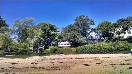 Wareham MA vacation rental - Beach view from the water, home on left.