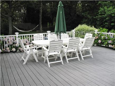 West Dennis Cape Cod vacation rental - Huge deck for entertaining has table with seating for eight