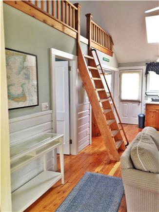 South Chatham Cape Cod vacation rental - Cathedral ceiling in living area with ladder to loft