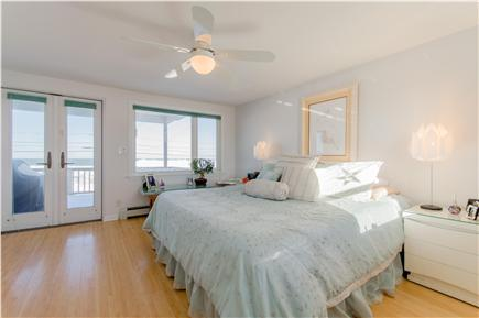 Plymouth MA vacation rental - Master bedroom overlooking the beach; king size bed