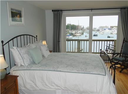 Woods Hole Woods Hole vacation rental - Upstairs queen bedroom with slider to deck, water views
