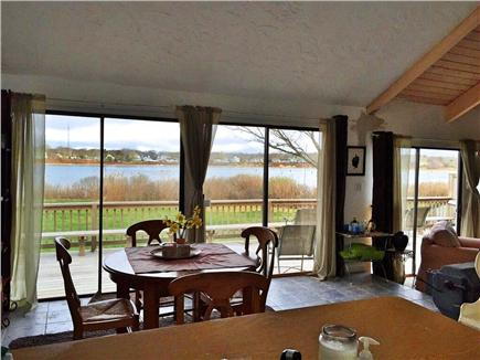 East Falmouth Cape Cod vacation rental - Kitchen with slider to deck - eat/drink while watching water!