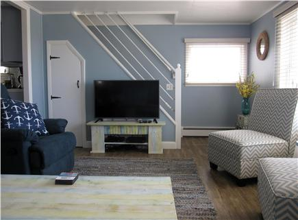 North Truro - Beach Point Cape Cod vacation rental - Living room and stairs to the loft bedroom