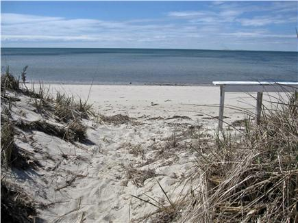 North Truro - Beach Point Cape Cod vacation rental - Looking at the beach and bay from the end of the boardwalk