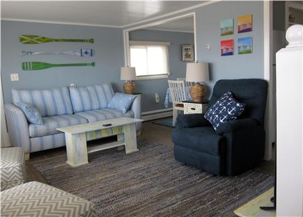 North Truro - Beach Point Cape Cod vacation rental - Looking at the living room from the bottom of the stairs