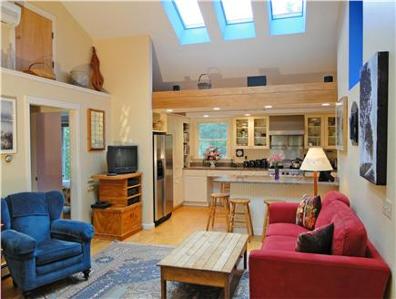 Brewster Cape Cod vacation rental - Lofted bright living room, opens to kitchen