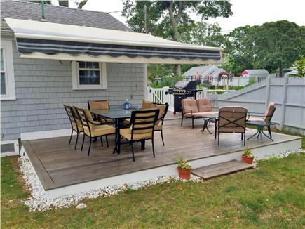 Dennis Port Cape Cod vacation rental - Outdoor Two-tiered deck with power awning