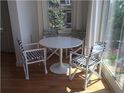 Provincetown Cape Cod vacation rental - This cafe table overlooking the bay is great for morning coffee