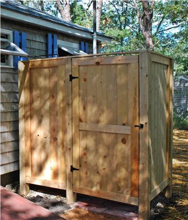 Dennis Cape Cod vacation rental - Outdoor Shower With Hot Water, Foot Washer, And Changing Area.