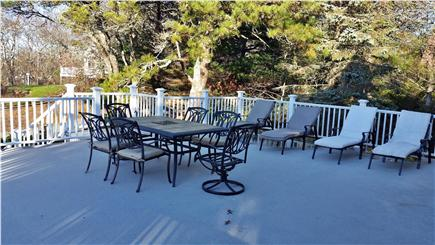 Pleasant Lake Harwich Cape Cod vacation rental - HUGE grilling deck faces Seymour Pond (west) - best sunsets!