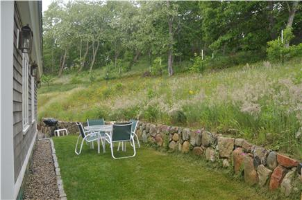 Truro Cape Cod vacation rental - Rear Patio - enjoy a private space and view of the peach orchard