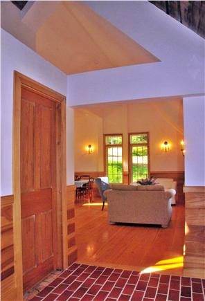 Truro Cape Cod vacation rental - The Cathedral ceiling in the Foyer draws you into the Living room