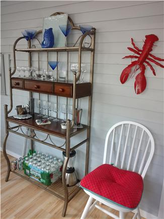 West Dennis Cape Cod vacation rental - Bar set up with full compliment of glasses
