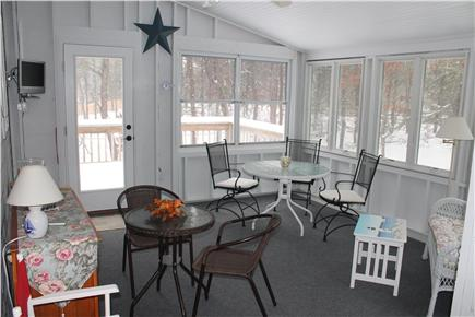 Eastham Cape Cod vacation rental - Screened in porch with television