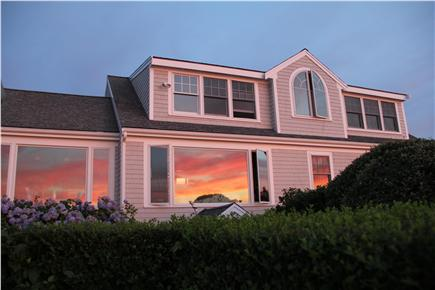 Brewster Cape Cod vacation rental - Reflection of sunset in the picture windows