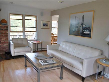 Truro Cape Cod vacation rental - A perfectly shaded living room with an amazing sound system