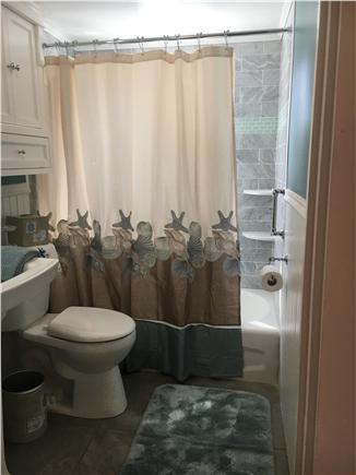 Dennisport Cape Cod vacation rental - 2nd floor bathroom with marble tiles