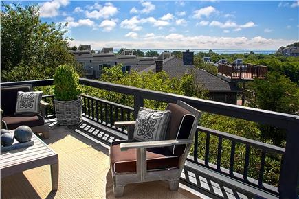 Provincetown Cape Cod vacation rental - Sitting Area on Main Deck - P'town Harbor and Long Light.