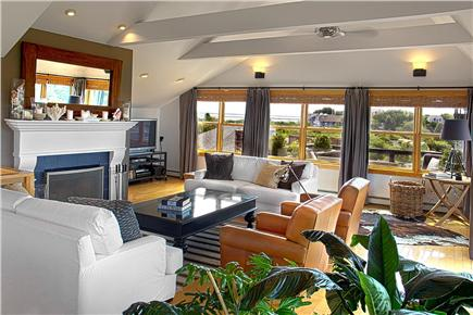Provincetown Cape Cod vacation rental - Living Room, Fireplace, and Entertainment Center.