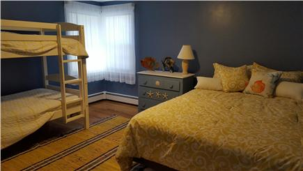 South Harwich Cape Cod vacation rental - 2nd bedroom with queen and bunk beds is bright and sunny