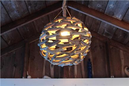 Dennis Port Cape Cod vacation rental - Driftwood light and vaulted ceiling on the porch