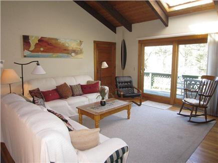 Brewster Cape Cod vacation rental - The living room, with doors to the deck