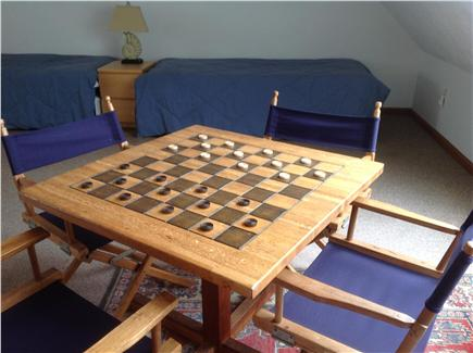 Truro Cape Cod vacation rental - Game table in loft for chess/checkers/puzzles