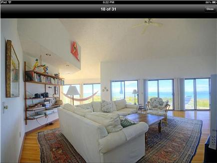 Truro Cape Cod vacation rental - Cathedral  ceilinged living room with TV/comfy couch/ tables/
