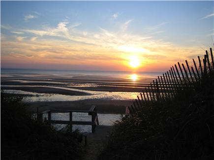 Eastham Cape Cod vacation rental - Low-tide sunset at association beach.