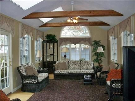 South Yarmouth Cape Cod vacation rental - Bright and Cheery Family Room w/vaulted ceiling/fan/skylights