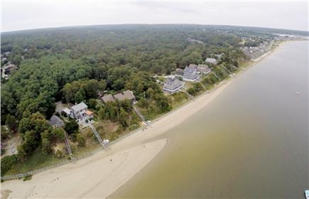 Wellfleet Cape Cod vacation rental - Full Aerial View of Mayo Beach looking East toward the Town Pier.