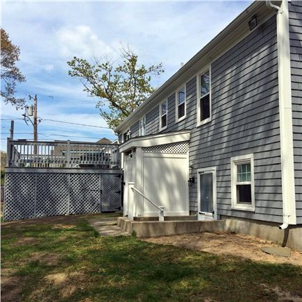 Dennis, Mayflower Beach   Cape Cod vacation rental - Deck w/patio set, gas grill, xtra table & chairs, outside shower
