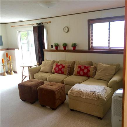 Harwich Port Cape Cod vacation rental - Family room with queen sleeper sofa and cable HDTV.