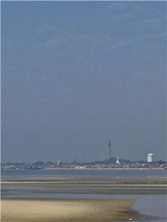 Provincetown Cape Cod vacation rental - View of Pilgrim Monument from our beach