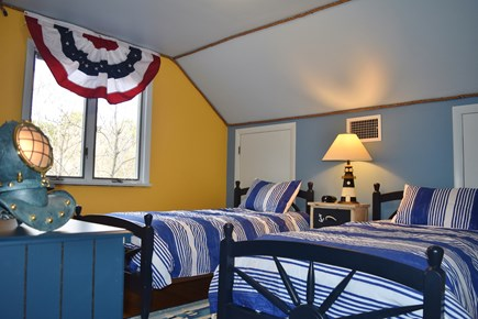 Chatham Cape Cod vacation rental - Twin bedroom with Nautical theme, Captain wheel bed, rope ceiling