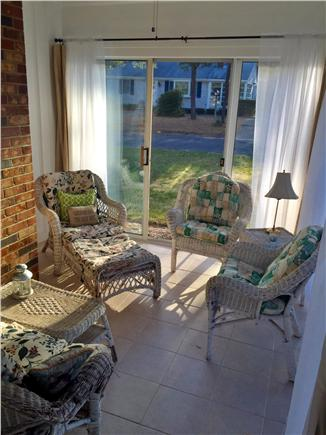 West Dennis Cape Cod vacation rental - Enclosed sun porch with sliders and ceiling fan