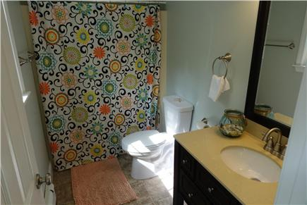 North Falmouth Cape Cod vacation rental - First floor full bath with new tile, vanity and toilet.